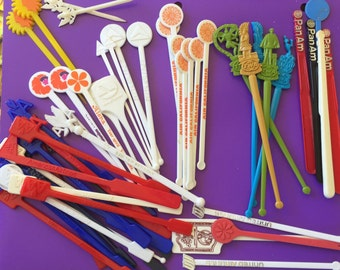 Vintage Airline Swizzle Sticks - Over 50 Pieces - Pan Am, Delta, United, American, TWA, And More!!!