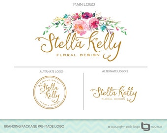 Floral Logo - Set of 3 Logos - Branding Package Premade Logo -  Watercolor Flowers - Flower Store - Floral Design - Typography