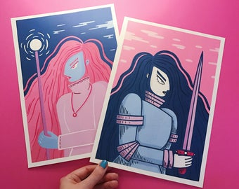 Duality A4 prints twin set - Knight - Witch - Body - Mind - Pair - Pink - Blue - Women