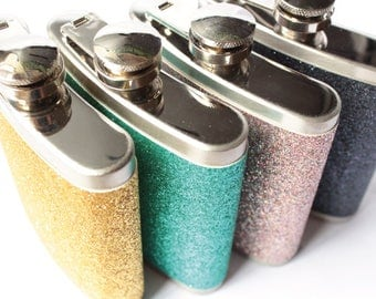 Glitter Hip Flask With A Choice Of Colours For Weddings Events