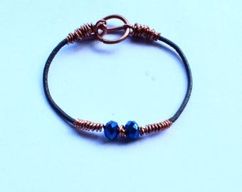 Beaded Blue Bracelet Copper Wire Wrapped Jewelry