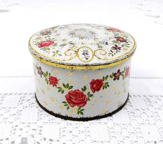 Antique French Metal Tin with Rose Floral Pattern/ Motif, Retro Vintage Shabby Romantic Home Decor, Country Cottage Boudoir Flower Box