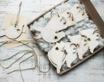 Gift box 9 ornaments heart angel bird shabby off white Christmas ornaments Mother's Day Valentine's Baptism rustic cottage chic wedding boho