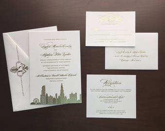 Gold Foil Chicago Skyline Cityscape Wedding Invitation