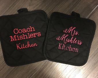 Personalized Potholder Set/Baking Set/Add on Set/Oven Mitt/Bridal Shower Gift/Monogram/Unique Wedding Gift/Kitchen Shower Set/Custom Hot Pad