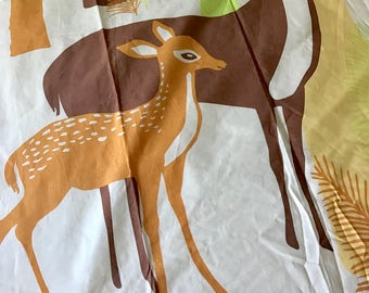 Mama deer and baby fawn vintage novelty fabric piece