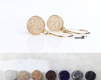 Druzy Dangle Earrings / Champagne Blush Druzy Earrings / Raw Quartz Earrings / 14k Gold Quartz Earrings / Peachy Blush Earrings