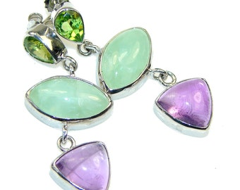Amethyst, Peridot, Apatite Sterling Silver Earrings - weight 12.50g - dim L -1 7 8, W -5 8, T -1 8 inch - code 27-kwi-15-39