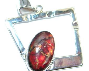 Ammolite Sterling Silver Pendant - weight 5.20g - dim L- 1 3 8, W - 1, T- 3 16 inch - code 24-lut-17-35