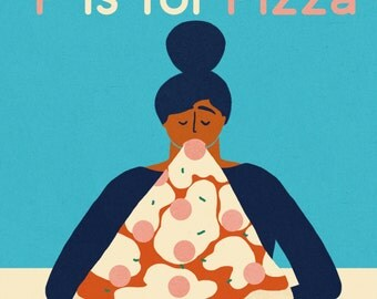 P is for Pizza illustration print