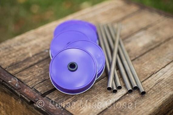 Set of 6 Purple Mason Jar Lids And Stainless Steel Straws Tumbler DIY Weddings, Parties, Everyday Use