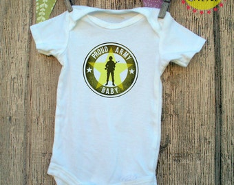 Proud Army Baby Whimsy Onesie shirt Navy, Military, Armed Forces, Air Force, Marines, USA baby shower birth announcement pregnant expecting