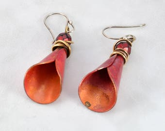 Rustic BoHo Hiirodo Red Copper Lily Earrings with Faceted Bead Wire Wrapped in Red Jewelers Brass