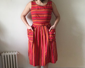 1950s Bright Red & Orange Striped Cotton Dress w/ Apron Pockets and Matching Belt Small