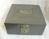 Half Off Sale 1960s Industrial Steel File Box, Made by Hamilton Skotch Corp, Hamilton, Ohio USA, Cash Box, Stash Box