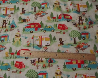 Cream Riley Blake Road Trip Animals Camping Cotton Fabric by the Yard