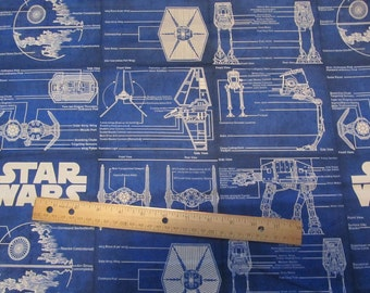 Blue Star Wars Blueprint Cotton Fabric by the Yard