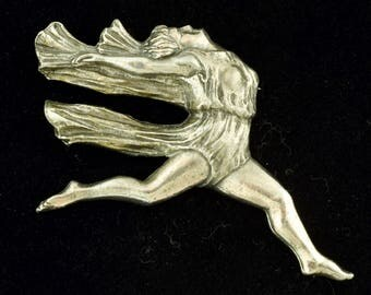 Large Art Deco Era Brooch Woman Running C Catch 1930s ~ Lot 1393