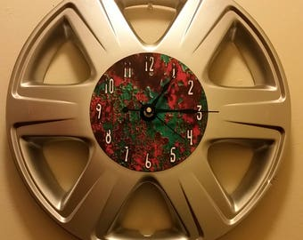 """UpCycled Hubcap Clock 16"""" Diameter Finished With Numbers."""