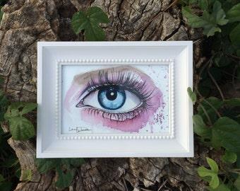 Blue Eye Mini Watercolor Painting Art By Jen Duran