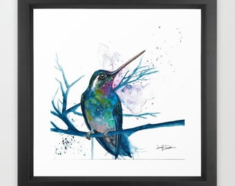 Hummingbird Watercolor Framed Art Print Art By Jen Duran