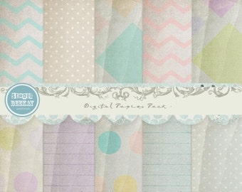 ON SALE Digital Scrapbooking Papers pack, 12x 12 in 300 dpi vol.41 - INSTANT Download
