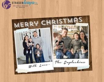 Woodgrain Photo Holiday Christmas Card
