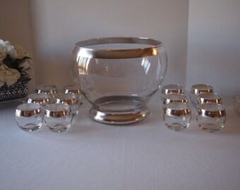 Mid-Century Silver Band Punch Bowl with 12 Matching  Roly Poly Glasses