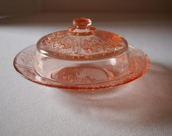 Federal Glass Sharon Rose Covered Butter Dish