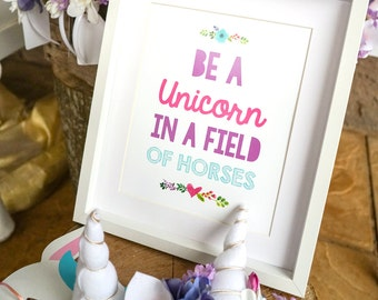 Unicorn Party Print - Be A Unicorn Print - Unicorn Party Decor - Unicorn Poster - Instant Download and Edit at home with Adobe Reader