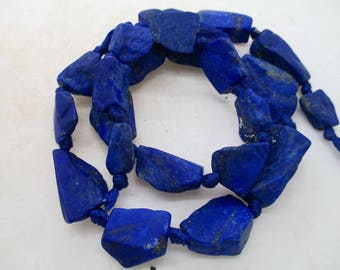Rare Royal Blue Rough nugget Lazuli Lazulite Natural Beads Strands Afghanistan R