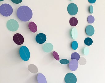 Mermaid party decoration, paper circle garland, frozen party, teal purple, wedding or baby shower decoration, photo backdrop, under the sea