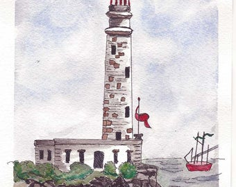 Original Pen and Ink with Watercolor Painting - Charming Old Lighthouse Sitting On Top Of A Rocky Shore