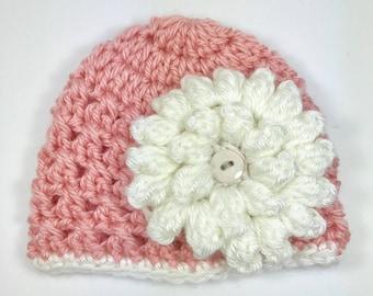 Crochet baby hat, crochet baby girl hat with flower, baby girl hat, newborn hat, baby hat