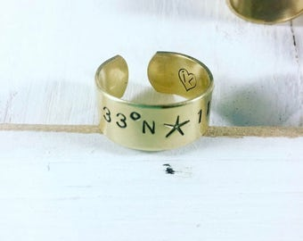 Coordinates Ring - Personalized Ring - Hand Stamped Jewelry - Wave Ring - Anchor  - Starfish Ring - Coordinates Jewelry - Bridesmaids Gift