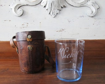 Vichy spa glass  blue with leather case