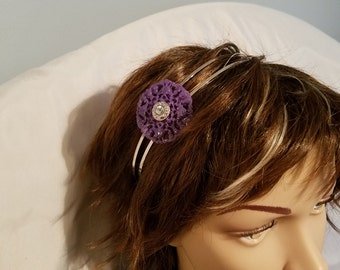 Headband Purple with Rhinestone Center Double Band
