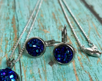 NEW Druzy Necklace and Earring Set, Bridesmaid Gift, Easter Gift, Faux Druzy, Tarnish Free, Stainless Steel Dangle Earrings, Gift Set