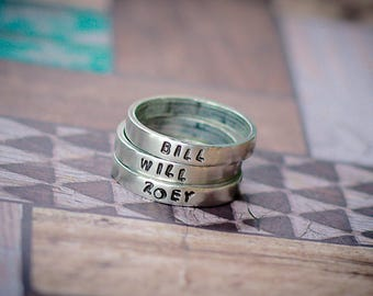 stackable Rings, mothers day gift, rings for mom, personalized rings, multiple rings, pewter rings, name rings