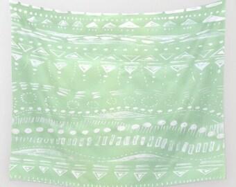 Mint Green Geometric Wall Tapestry, geometric tapestry, pastel tapestry, mint wall tapestry, pastel wall hanging, mint wall hanging