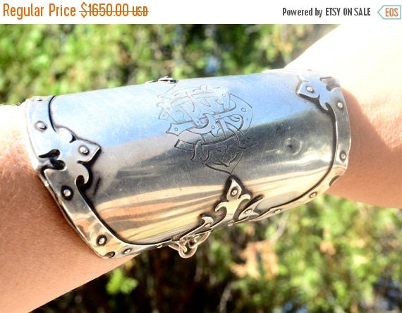 SALE 40% OFF Antique Solid Sterling Silver 925 Rare Medieval Gladiator Armour Armor Renaissance Spartan Warrior Large Heavy Wide Cuff Bracel