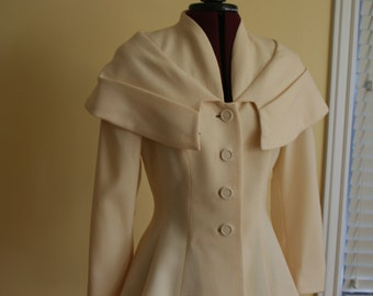 Lilli Ann winter White Blazer with Shawl Collar in Cream