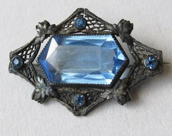 SALE!  Edwardian 1920's Vintage Art Deco Black Silver Filigree & Blue Paste Rhinestone Glass Pin