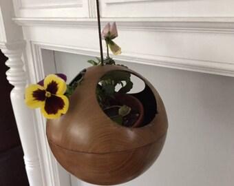 MId Century Modern Rare Find Ames Teak Three Hole Hanging Orb Planter/Terrarium/Display