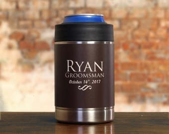 Groomsman Gift, Personalized Can Cooler, Brown