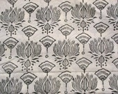Lotus print Fabric Hand Stamped Cotton Fabric Sold by Yard