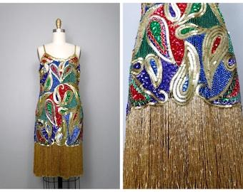HEAVY Fringe Beaded Dress // Rainbow Sequin Embellished Fringed Beaded Dress // Fully Sequined Beading Mini Dress Large