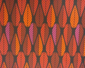 Curtain panel black red orange pink leaves Abstract Modern Decor Cafe curtain Kitchen valance , runner , napkins available, great GIFT