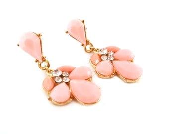 Sparkling Pink Drop Earrings - CZ Earrings - Pink Glam Earrings - Rhinestone Teardrop Earrings - Pastel Accessories - Gift for Her