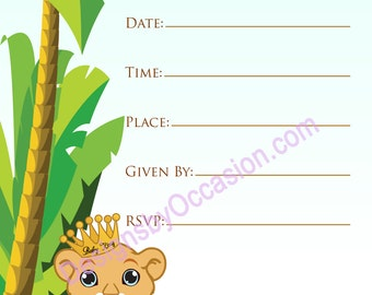 Downloadable - Baby Lion King Invitation 5X7